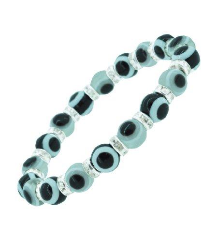 Evil Eye Rondelle Beads Kabbalah Bracele, Evil Eye Bracelet (White)