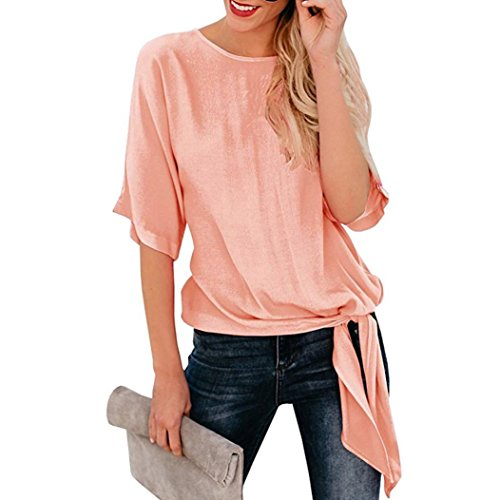 l Basic Knot Tie Front Loose Fit Half Sleeve Tee Top T-Shirt Blouse(Pink,XL) ()