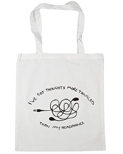 "HippoWarehouse - Bolsa de mano, para compras, gimnasio y playa, diseño con texto en inglés ""I've got thoughts more tangled than my headphones"", 42 x38 cm, 10 litros blanco"