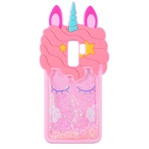 Quicksand Pink Unicorn Case for Samsung Galaxy S9,Soft Cute Silicone 3D Cartoon Animal Cover,Mulafnxal Shockproof Cases,Kids Girls Bling Bling Glitter Rubber Kawaii Character Protector for Samsung S9