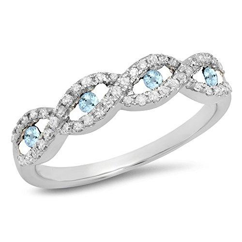 10K White Gold Round Aquamarine & White Diamond Bridal Stackable Wedding Band Swirl Ring (Size 6)