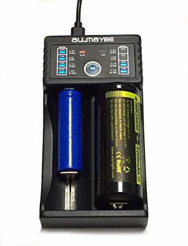 Price comparison product image Universal Speedy Smart Battery Charger, Allmaybe EC2 Rechargeable Batteries for Ni-MH Ni-Cd AA AAA Li-ion LiFePO4 IMR 10440 14500 16340 18650 RCR123 26650 with USB Port