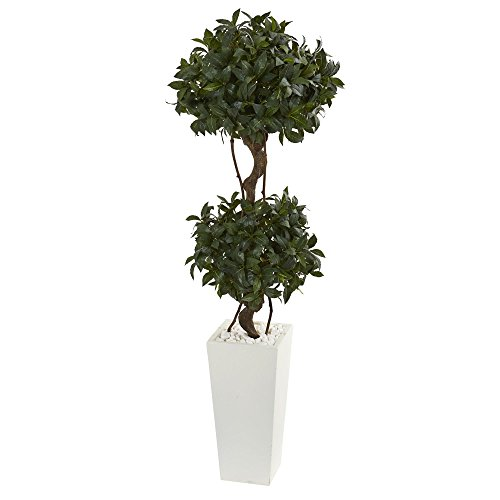 Nearly Natural Artificial Tower 5' Sweet Bay Double Topiary in White Planter, - Topiary Sweet Bay