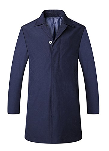 HOWON Men's Business Trench Coat Knee Length Overcoat Navy L