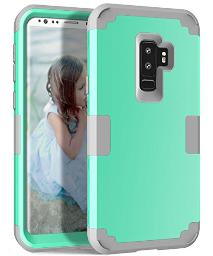 (Galaxy S9 Plus Case, KAMII 3in1 [Shockproof] Drop-Protection Hard PC Soft Silicone Combo Hybrid Impact Defender Heavy Duty Full-Body Protective Case Cover for Samsung Galaxy S9+ (2018) (Aqua+Grey))