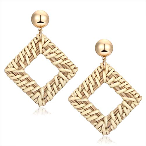 MOLOCH Acrylic for Women Geometry Resin Drop Dangle Earrings Bohemia Tortoise Shell Hoop Earrings Mottled Statement Stud Earrings Fashion Jewelry (Rattan Square ()