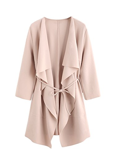 Romwe Women's Raw Cut Hem Waterfall Collar Long Sleeve Wrap Trench Coat Cardigan Peach (Long Sleeve Trench Coat)