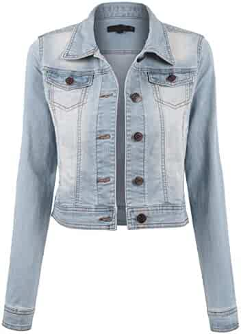 9034b2cecb645 BEKDO Womens Classic Long Sleeve Button up Slim Fit Denim Jacket