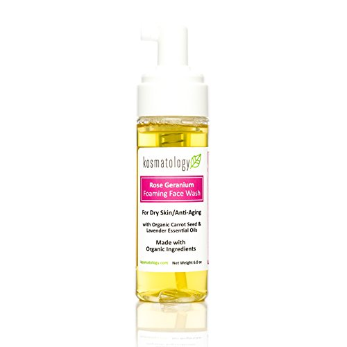 Kosmatology Rose Geranium Organic Foaming Facial Wash For Aging Skin, 6 fl oz