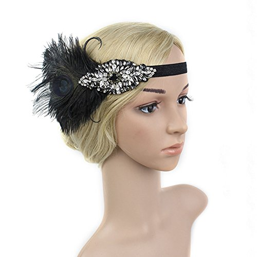 20s Burlesque Costume (BAOBAO 1920s Women Wedding Party Crystal Peacock Feather Flapper Headpiece Hairband)