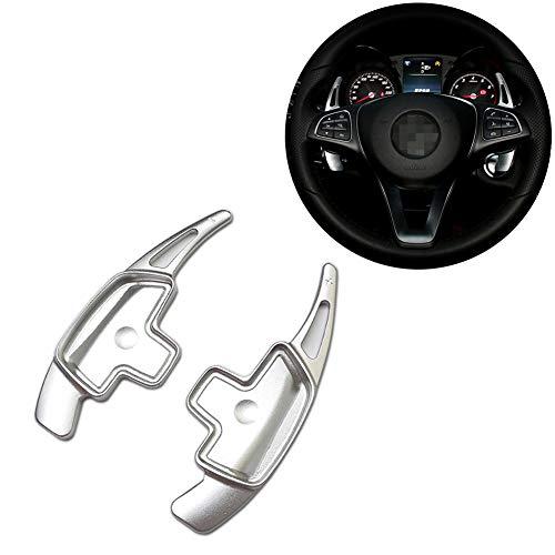 Aluminum Steering Wheel Paddle Shifter Extensions For 2015-up Mercedes Benz W205 C-Class, W213 E-Class, C117 CLA-Class, X205 GLC-Class (Silver Matte ()