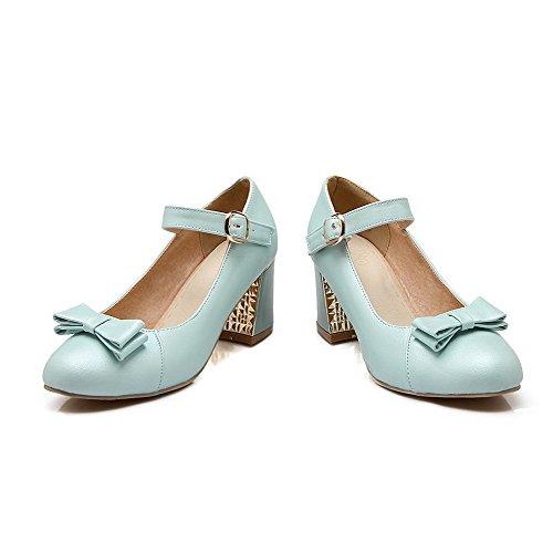 Allhqfashion Donna Materiale Morbido Tacco Chiuso Con Fibbia Tacco Alto Scarpe Con Tacco-scarpe Blu
