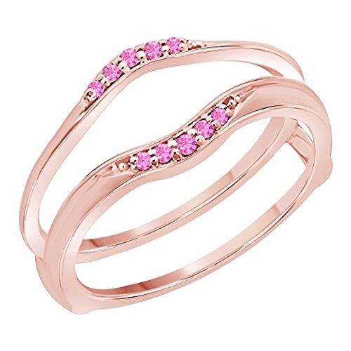 Gems and Jewels Women's 14k Gold Finish 1/10 Ct Created Pink Sapphire Enhancer Ring Guard