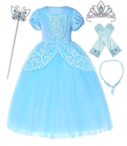 Romy's Collection Blue Cinderella Princess Party Dress with Accessories (6-7) -