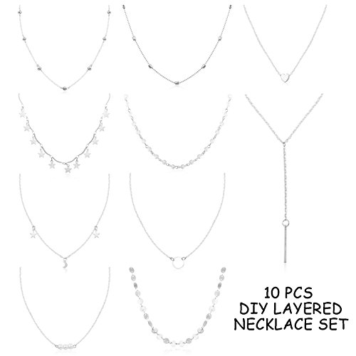 FUNRUN JEWELRY 10PCS Layered Choker Necklace for Women Girls Sexy Coin Star Multilayer Chain Necklace Set Adjustable (Beaded Silver Tone Chain)