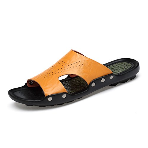 Xing Lin Sandalias De Hombre Zapatos De Hombre Verano Nueva Zapatilla Antideslizante De Hombres Flip Flops Sandalias Sandalias Zapatos De Cuero Yardas yellow