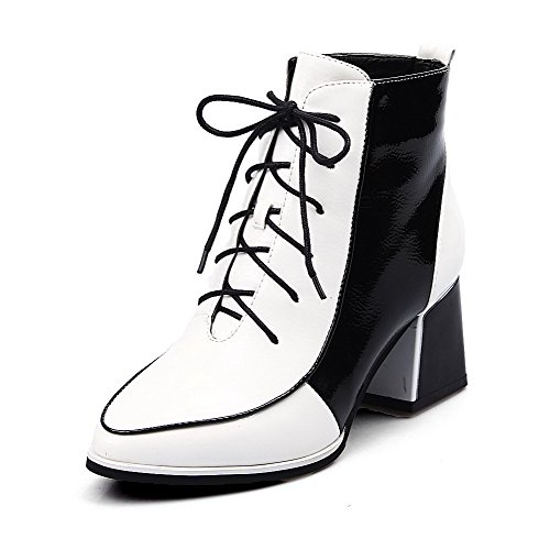 Heels Assorted Closed B US M 5 Patent Leather Round AmoonyFashionWomens Color Toe PU with Kitten Boots White Platform USxIwq