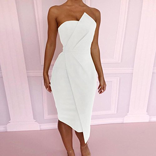De Pure Asymétrique À Bra Xl Robe Chic Élégant Femmes Adeshop Blanc Taille Cou Crayon Sac Avant Genou Slim Au Robe Mode Jupe Couleur S Sexy New Soirée Parties Cocktail Slash 8xqvpZY