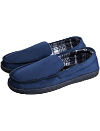Mens Casual Moccasins Anti Slip Rubber Sole Comfortable Cozy Driving Loafers Indoor Outdoor Slippers