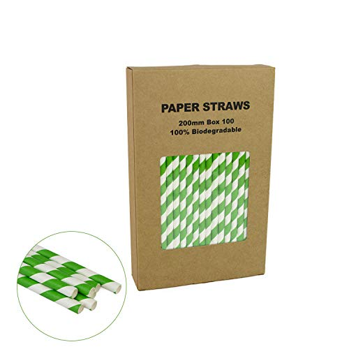 Paper Straws Green Striped - Box of 100-7.75 inches - Bright & Vivid Colored Cake Pop Paper Sticks for Wedding, Cocktails, Birthday, Bachelorette Party Decoration ()
