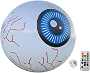 Halloween Inflatable Glowing Eyeballs with Remote Control, 16 Inches LED Colorful Changes Outdoor Garden Decor