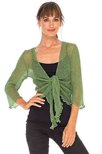(SHU-SHI Womens Sheer Shrug Tie Top Cardigan Lightweight Knit One Size 2-14 Green)