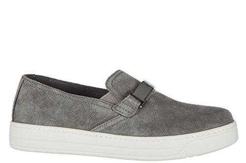 Prada Damen Wildleder Slip On Slipper Sneakers Grau