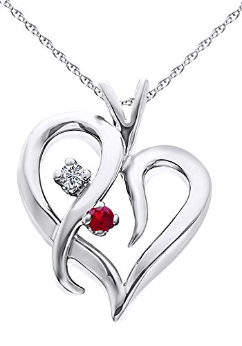 Round Shape Simulated Ruby & White Natural Diamond Tilted Heart Pendant In 14k Solid White Gold (0.1 Ct)