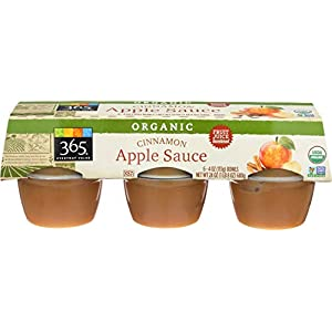 365 by Whole Foods Market, Organic Applesauce, Unsweetened – Cinnamon (6 – 4oz Bowls), 24 Ounce