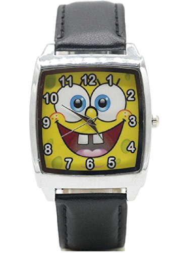 Spongebob Squarepants Logo Black Square Genuine Leather Band Wrist Watch