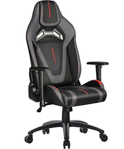 Gaming Chair Racing Style Swivel Computer Gamer Chair with Fully Foam, Esports Video Game Chair, PU Leather Executive Office Chair with Lift Headrest and Lumbar Support Gray