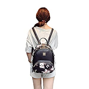Mini Backpack for Girls Designer Rivet PU Leather Travel Bags Womens Casual Fashion College School Sport Daypack Outdoor Accessories Ruchsack Pack Floral Bookbags Waterproof (Black Backpack)