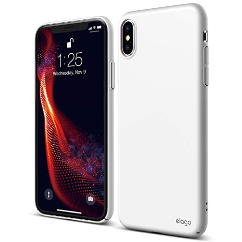 elago Slim Fit Series for iPhone Xs Max Case [White] - [Matte Finish][Full Covered][Camera Protection][Support Wireless Charging][Scratch & Minor Drop Protection] for Apple iPhone Xs Max (2018)
