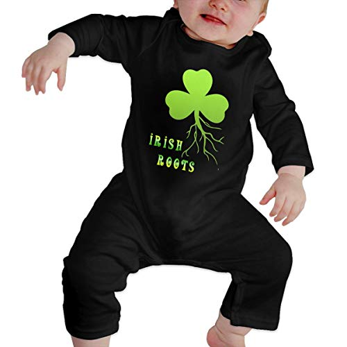 (TREEWw Irish Shamrock Roots Baby Boys Girls Jumpsuit Romper Outfit Long Sleeve Creepers)