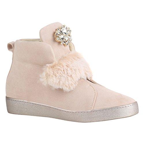 Stiefelparadies Damen Sneaker High Warm Gefütterte Sneakers Winter Schuhe Profilsohle Winterschuhe Schnürer Wildleder-Optik Turnschuhe Flandell Creme Strass