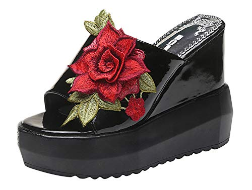 ACE SHOCK Women Wedge Sandals High Heel Peep Toe Flower Studded Fashion Outdoor Platform Slippers (5.5, Slippers Black) ()