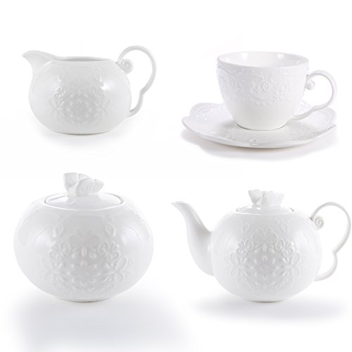 INCH White Porcelain Tea Set Teacup Coffee Cup Saucers Set for 4 with Teapot Sugar Bowl Cream Pitcher