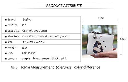 Dreambox Frauen Mini Wallet Leder Cute Cartoon Design Kleine Checkbook Geldbörse Münze Karte für Mädchen Geschenk White ( panda) DxWCHzvo37