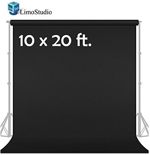 LimoStudio 10' x 20' Photo Video Studio Seamless Solid Black Muslin Backdrop Photo Studio Background, AGG1601 by LimoStudio