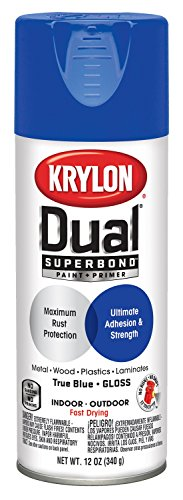 Krylon K08820007 'Dual' Superbond Paint and Primer, Gloss True Blue, 12 Ounce
