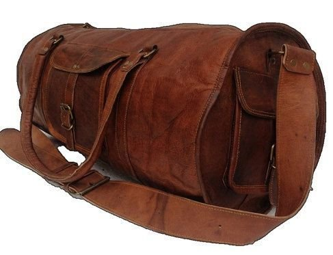 1f1a6ff82a80 Hindkari Pure brown Leather Round Duffle Travel Gym Bag  Amazon.in  Bags