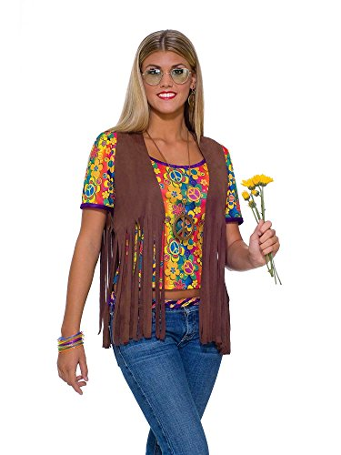 Forum Novelties Women's 60's Hippie Vest Costume Accessory, Brown, One Size]()