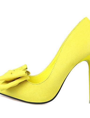 GGX/Damen Schuhe Wildleder Frühjahr/Herbst Spitz Zulaufender Zehenbereich Heels Hochzeit Stiletto Heel Schleife Schwarz/Blau/Gelb/Pink/Rot yellow-us6 / eu36 / uk4 / cn36