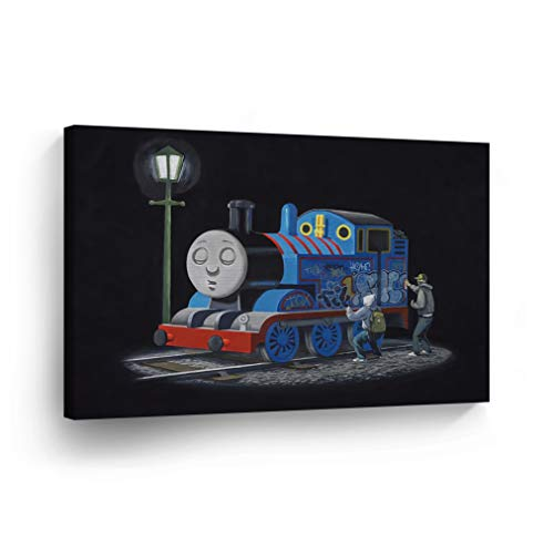 (Smile Art Design Banksy Canvas Print Thomas The Tank Engine Artwork Banksy Wall Art Modern Art Wall Decor Home Decor Stretched Ready to Hang-%100 Handmade in The USA- 11x17)