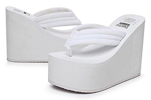 Summer Open White Sandals Heel Flip Trendy Womens Sfnld Wedge Thong High Toe Flop qFpwEvxPt7