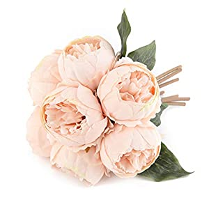 Louiesya Artificial Flower Peony Fake Silk 1 Bouquet Vintage Peony Floral Plants Decor for Home Garden Wedding Party Decor Decoration (Champagne) 114