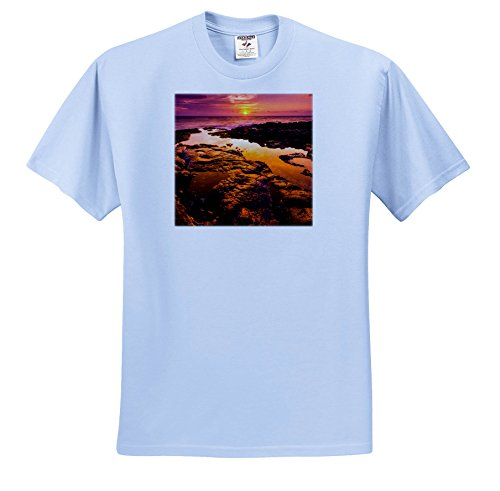 3dRose Danita Delimont - Sunsets - Orange Sunset and Tide Pool Above The Pacific, Kailua Kona, Hawaii - T-Shirts - Toddler Light-Blue-T-Shirt (2T) (ts_278947_63)