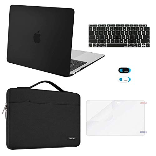 MOSISO MacBook Air 13 inch Case 2019 2018 Release A1932 Retina Display, Plastic Hard Shell & Sleeve Bag & Keyboard Cover & Webcam Cover & Screen Protector Compatible with MacBook Air 13, Black (Best Bag For Macbook Air 13)