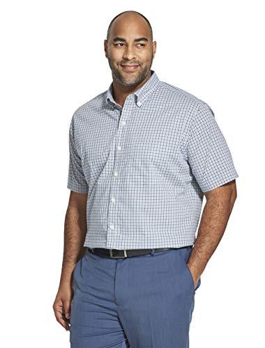 Van Heusen Men's Big and Tall Flex Short Sleeve Button Down Check Shirt, blue depths, Large Tall