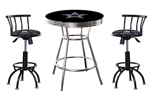 """3 Piece Black Pub/Bar Table Set with 2-24"""" to 29"""" Adjustable Black Metal Finish Swivel Stools - All Featuring Your Favorite Football Team! (Cowboys)"""